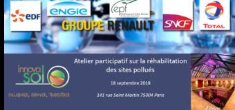 Atelier participatif sur la réhabilitation des sites pollués -18 septembre 2018